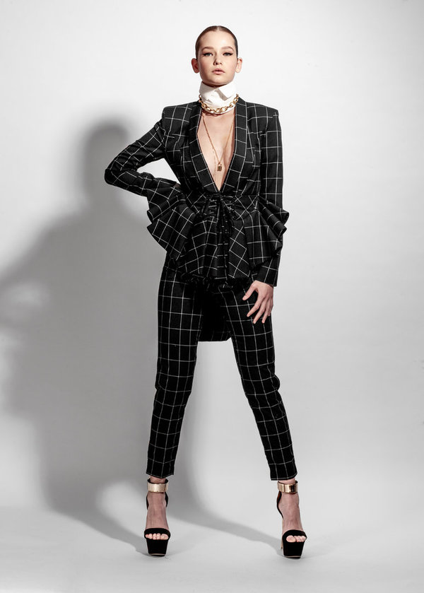 Black Checkered Wool Corset Suit Jacket