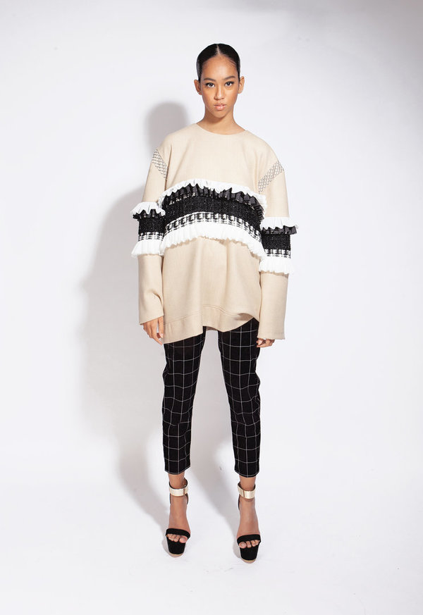 Nude Oversized Wol/Cashmere Sweater with Stripe Pattern
